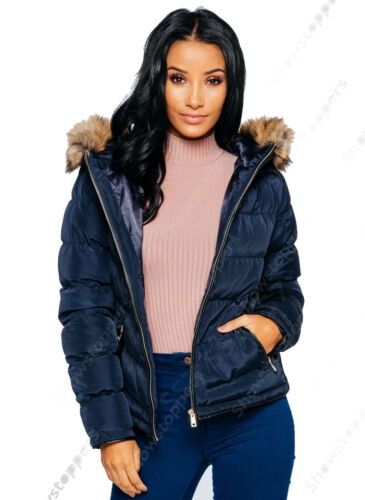 New Womens Quilted Padded Puffa Jacket Fur Hood Parka Coat Size 8 10 12 14 Navy