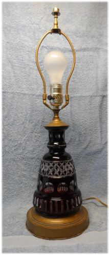 Vintage Mid 40's Bohemian Heavy Thick Lead Crystal Ruby Cut To Clear Table Lamp
