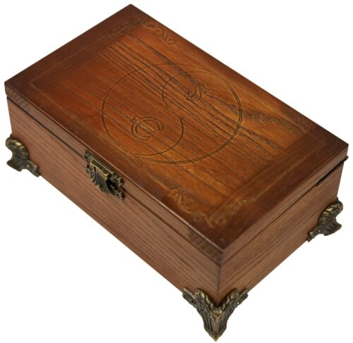 NEW HANDMADE CARVED WOODEN MONEY STORAGE BOX FINE ASH-TREE WOOD  COOL GIFT IDEAS