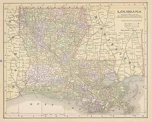 1894  ANTIQUE LOUISIANA color  map original authentic