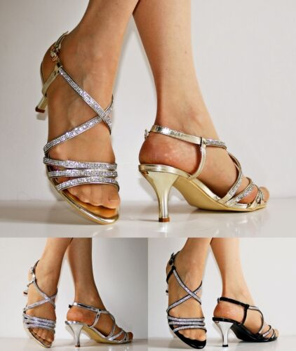 Womens Party Prom Diamante Ankle Straps Low Kitten Heels Shoes Sandals 30-53