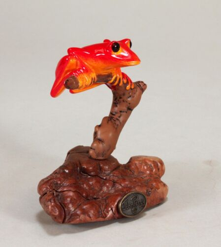 RED TREE FROG by JOHN PERRY 5in tall hand-painted sculpture New direct from