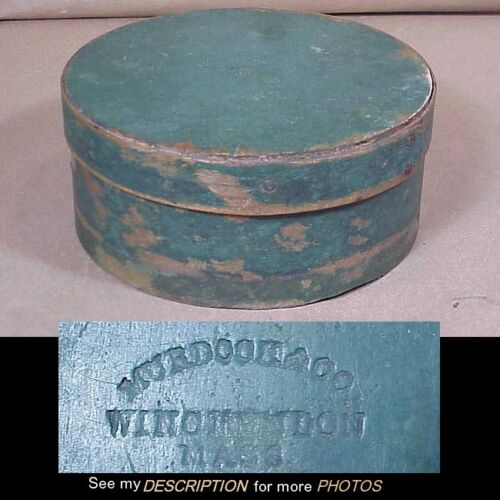 "Antique New England 6-1/2""Dia Blue Paint Decorated Pantry Box Signed"