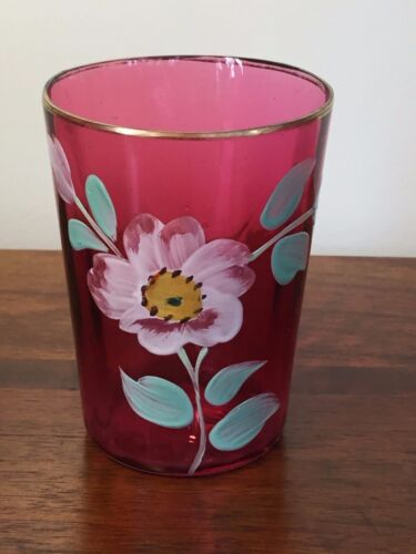Antique VICTORIAN CRANBERRY ART GLASS TUMBLER with Enamel Flower Ribbed Panel