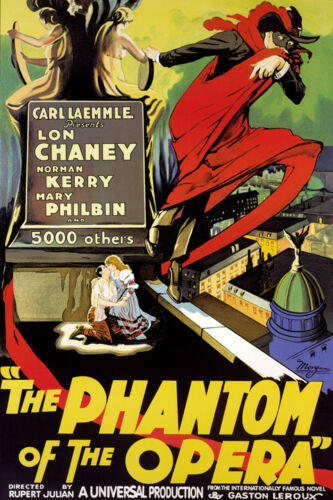 Vintage Art PHANTOM OF THE OPERA poster paper or Canvas Giclee 18x13 to 60x40