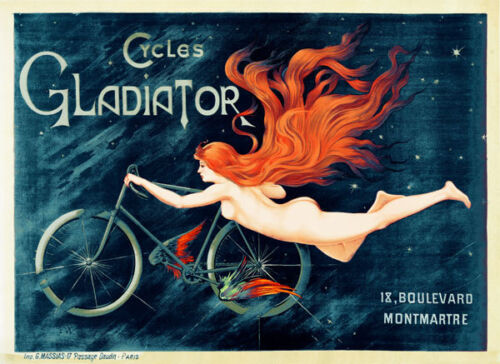 CYCLES GLADIATOR by Cappiello Vintage Bicycle Art Nouveau Poster