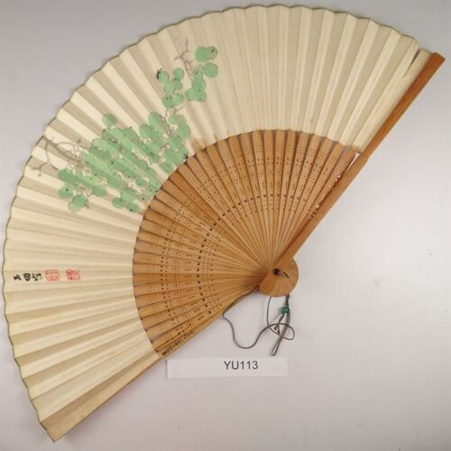 YU113 SENSU Flower Japanese Fan Painting Nihonga Picture Geijyutu crafts