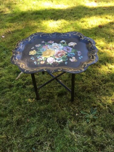 Vintage Shabby Cottage Chic Tole Toleware Hand Painted Tray Table w Stand Roses