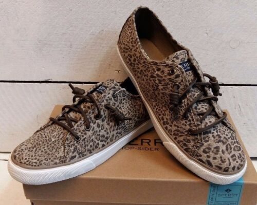 Ladies Sperry Cheetah Slip On Canvas Shoes