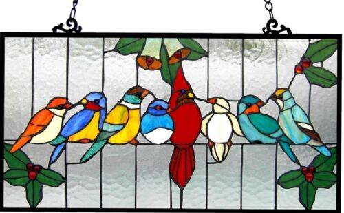 Enamelled Birds of a Feather Stained Glass Tiffany Style Window Panel