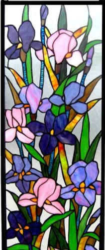 "31.5"" Flowers in Bloom Iris  Stained Glass Tiffany Style Window Panel"