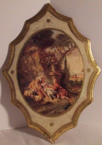 """Vintage 18""""X12"""" Florentine Italy Wood Gold Gilt Tole Wall Plaque COURTING COUPLE"""