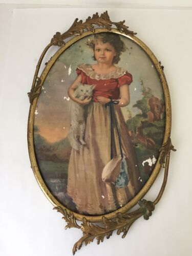 Vintage Shabby Antique Ornate Oval Frame No Glass as is