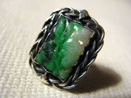 Vintage Antique Chinese Carved Jade Ring Sterling Silver Size 6