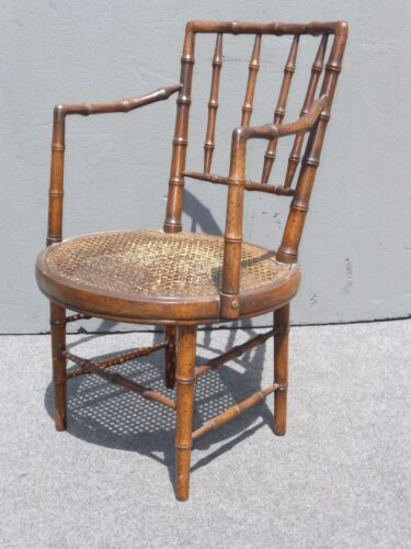 Vintage Mid-Century BAMBOO STYLE Wood & Cane SIDE ACCENT CHAIR