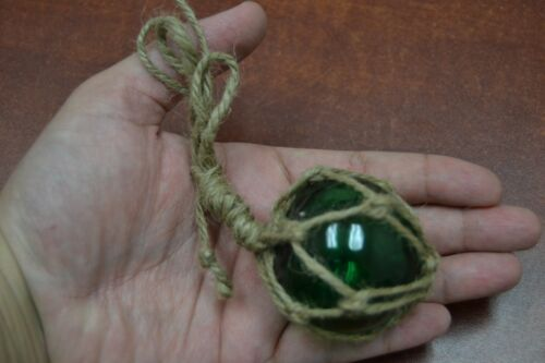 "REPRODUCTION GREEN GLASS FLOAT BALL BUOY WITH FISHING NET 2"" #F-364"