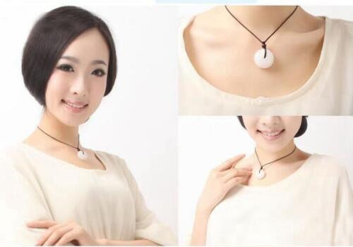 Chinese white jade Jadeite pendant necklace hand-carved