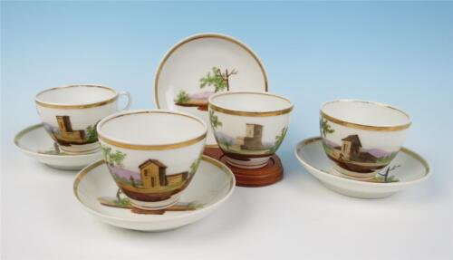 Set 4 Antique Old Paris Porcelain Hand Painted Scenic Cups & Saucers French Gold