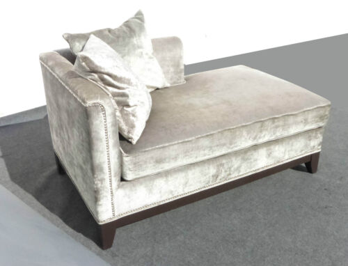 Z GALLERIE CHAIR Silver Velvet CHAISE LOUNGER w Pillows Silver Decorative Nails