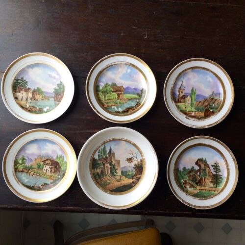 Paris Porcelain Scenic Hand-Painted Set Of Plates 19th C. French Sevres Rare ART