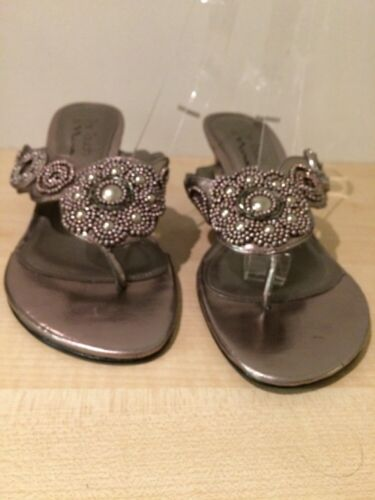 THE TOUCH OF NINA Metallic Wedges Toe Post Sandals Beaded Size EUR 38 Summer