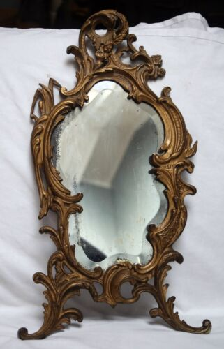 vintage cast beveled dresser vanity mirror stands 21 inches, art deco style