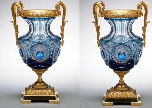 EXQUISITE PAIR OF RARE MAGNIFICENT EMPIRE BLUE CRYSTAL BACARRAT STYLE VASE URNS!