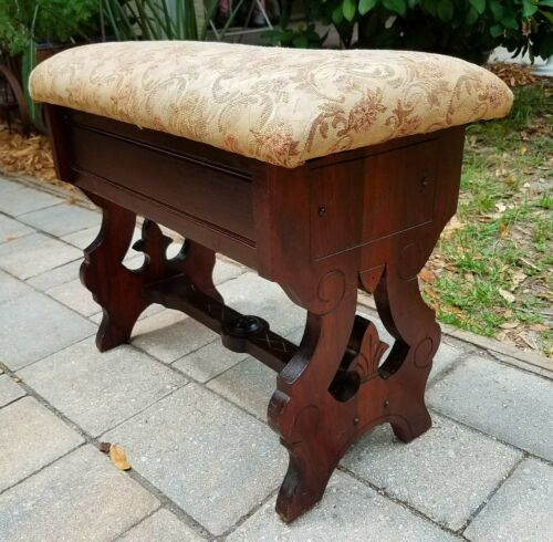 Antique Victorian Eastlake MAHOGANY Slipper Bench Sewing Piano Vanity Stool