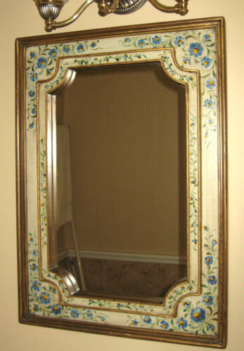 Hand Painted Mirror Wood South Cone Collection Double Frame Floral Blue Yellow