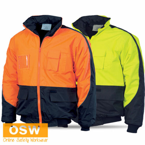 HI VIS UNISEX WATERPROOF WARM WINTER SAFETY WORK QUILT LINED BOMBER JACKET