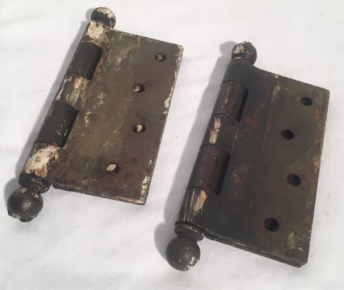 Set Of (2) Antique Brass DOOR HINGES Rustic Distressed Reclaimed Hardware