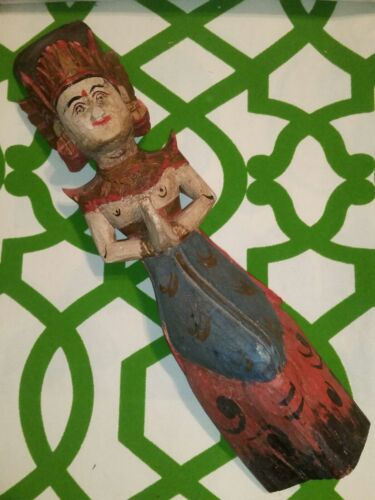 Wooden Hand Carved Goddess India Deity Doll Sculpture Statue Figure