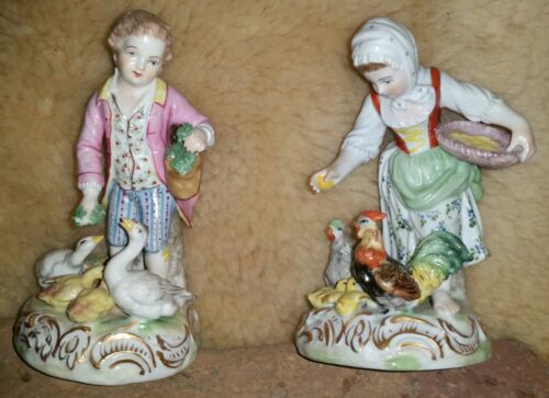 Antique Dresden Porcelain Girl & Boy Figurine w/Geese & Chickens mothers Day