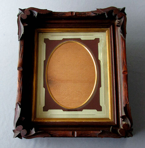Antique BLACK FOREST Carved Walnut WOODEN FRAME with DIE CUT MATTE circa 1860