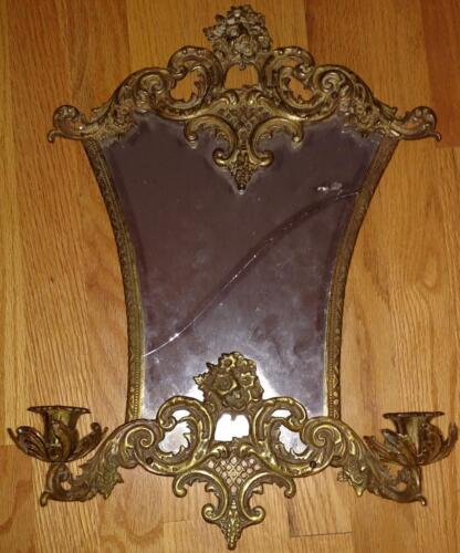 Antique Brass Mirror Sconce Candle Holder French Rococo Regency Ornate -4 REPAIR