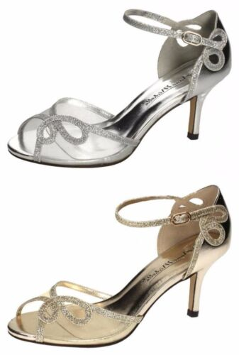 Ladies Silver / Gold Anne Michel Heeled Sandals Prom/Wedding/Party F10583