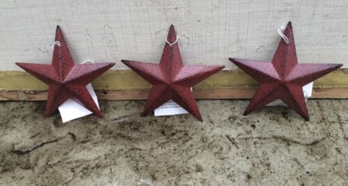 "Set of 3 ~ Burgundy BLACK BARN STARS 3.5"" PRIMITIVE COUNTRY DECOR FREE SHIPPING"