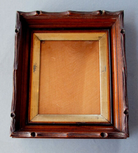 Antique BLACK FOREST Carved Wood DEEP WALNUT PICTURE FRAME circa 1870