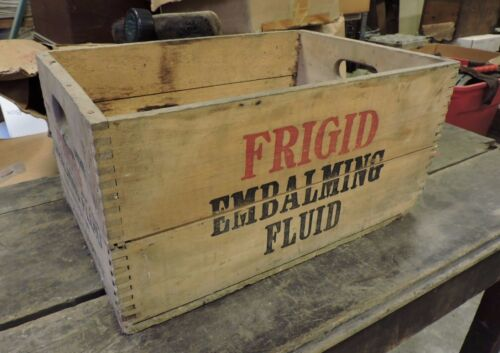Vintage/Antique Frigid Embalming Fluid Wood Shipping Advertising Crate (AX)