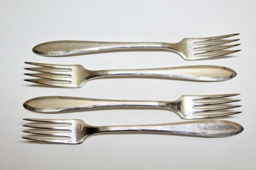 4 Nobility Plate Reverie Pattern Silverplate Flatware Grille Forks