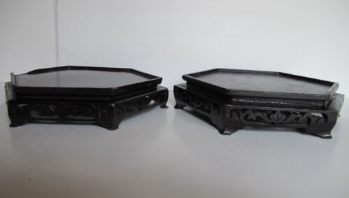 """Pair of Antique Asian Chinese Carved Wood Hexagon Vase Stands 7.75"""" wide top"""