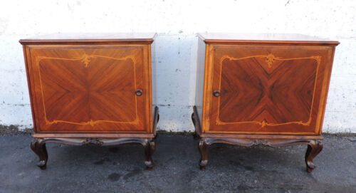 Pair of French Inlay Nightstands Side End Tables  8172