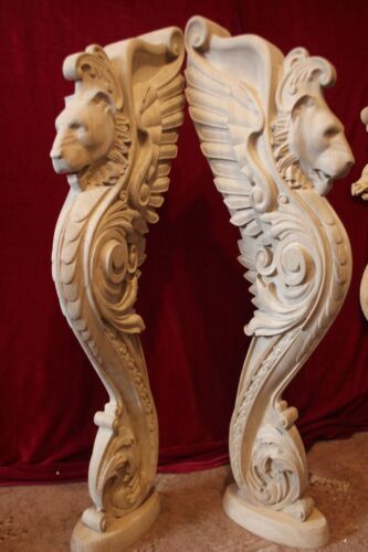 Wooden Lion statue, stairs Baluster Newel, oak carved  gryphon.