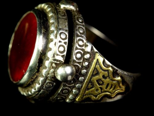 Antique Seljuk Old Solid Silver Carnelian Gold Overlead Ring