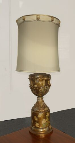 Vintage MID CENTURY Gold Gilt Tall Table Lamp w White Shade FRENCH