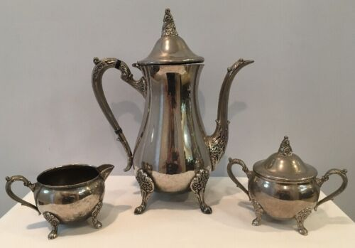 Vintage Eales 1779 Sheffield England Silverplate Teapot & Creamer,Sugar With Lid