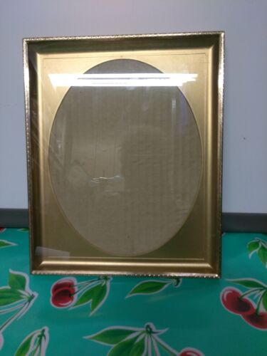 """8"""" x 10"""" brass picture frame shadow box celluloid insert OVAL FACE free shipping"""