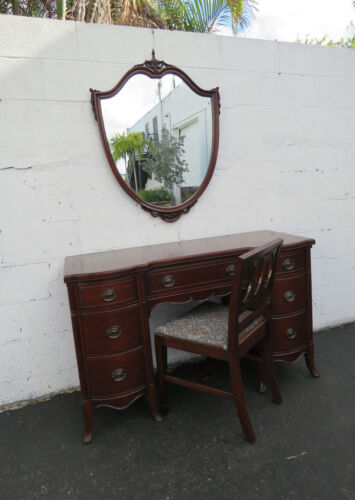 Set of Carved Mahogany Vanity Writing Desk with Mirror and Chair 8471