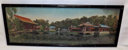 """Unusual Finely Woven Silk Tapestry of Asian Setting By Pond 30"""" Long Panorama"""