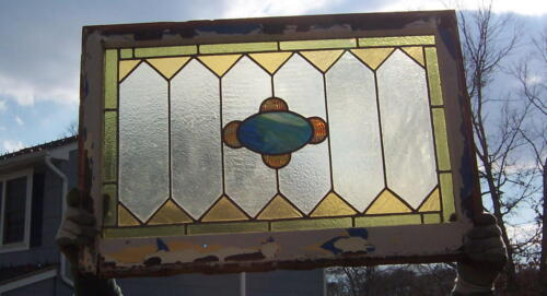 ANTIQUE VINTAGE STAINED GLASS WINDOW 34 X 23 in frame BLUE CENTER